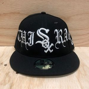 b54e80754ea86 Vlone Chiraq Chicago White Sox Fitted Baseball Hat